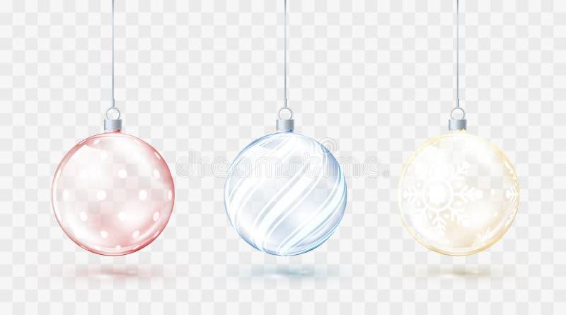 Genomskinliga julbollar för exponeringsglas Beståndsdeljulgarneringar Skinande färgrikt leker med guld- rött och blått glöd vekto stock illustrationer