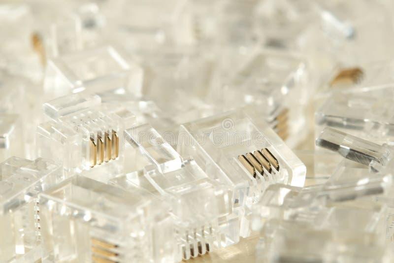 Genomskinliga kontaktdon för Ethernetinternet rj-45 arkivfoton