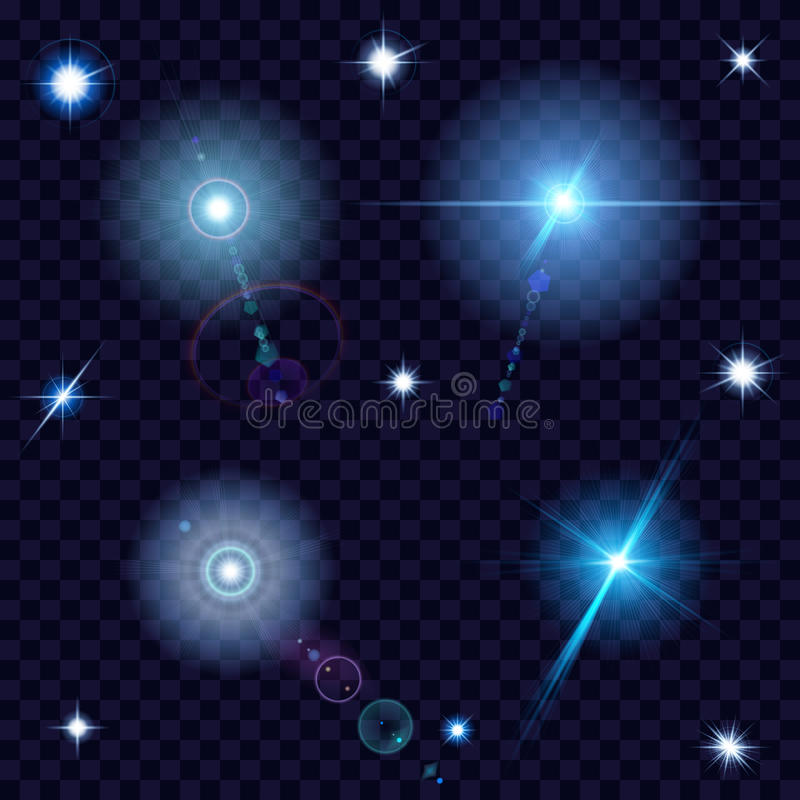 Genomskinliga linssignalljus och gnistor vektor illustrationer