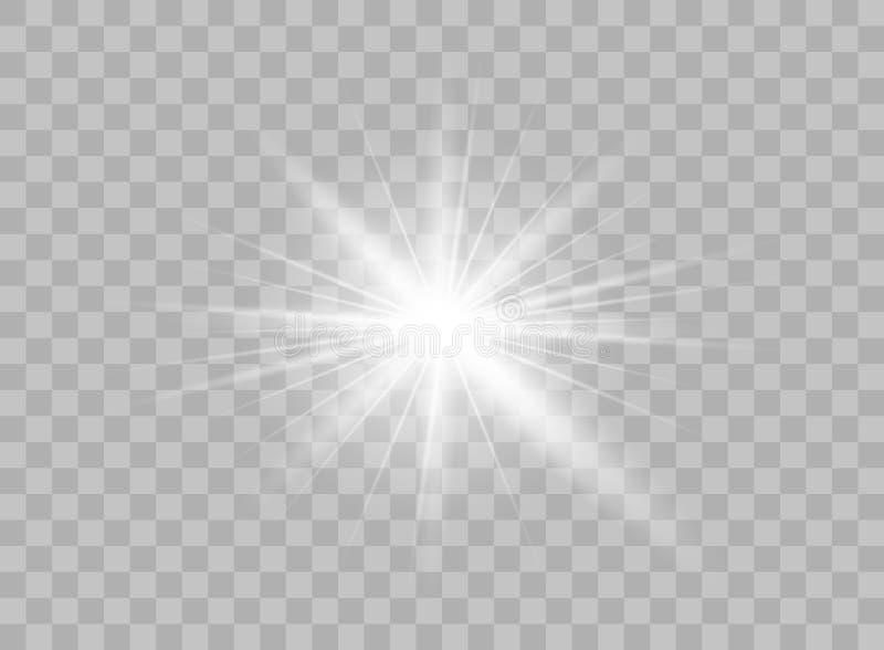 Genomskinliga ljusa beståndsdelar på en isolerad bakgrund Ljus reflexion, signalljus Glänsande stjärna Att glo effulgencen vektor stock illustrationer