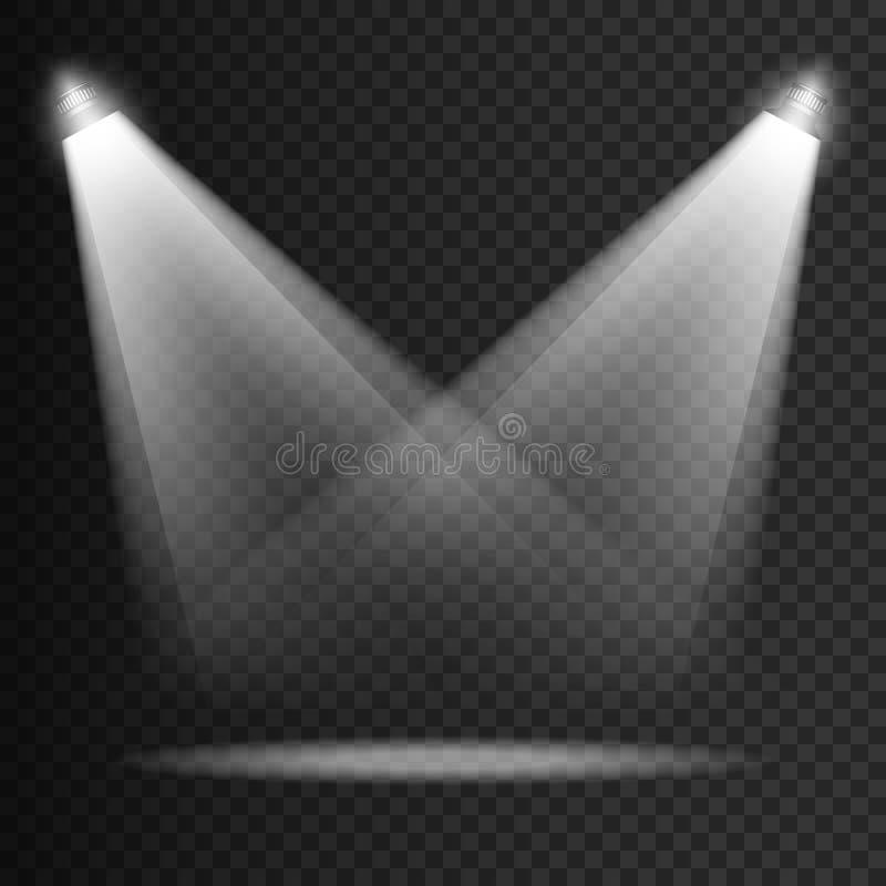 Genomskinliga ljuseffekter för plats på en plädmörkerbakgrund Ljus belysningbelysning med isolerade strålkastare royaltyfri illustrationer