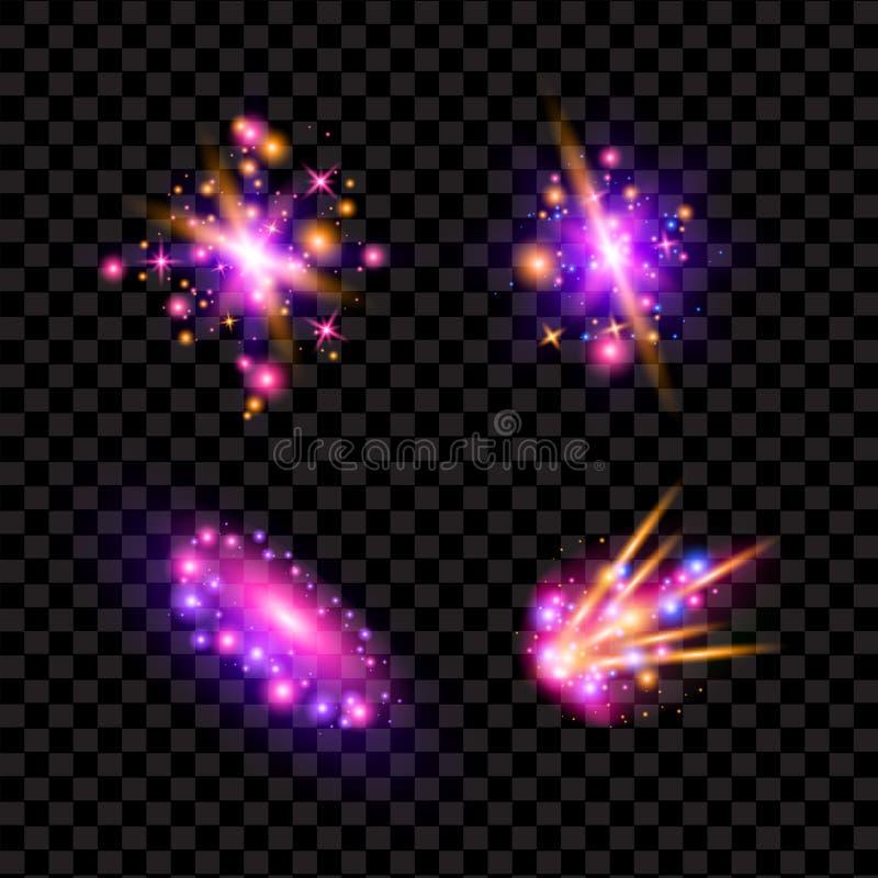 Genomskinliga mousserande ljusa effekter och signalljus Blänka galaxen stock illustrationer