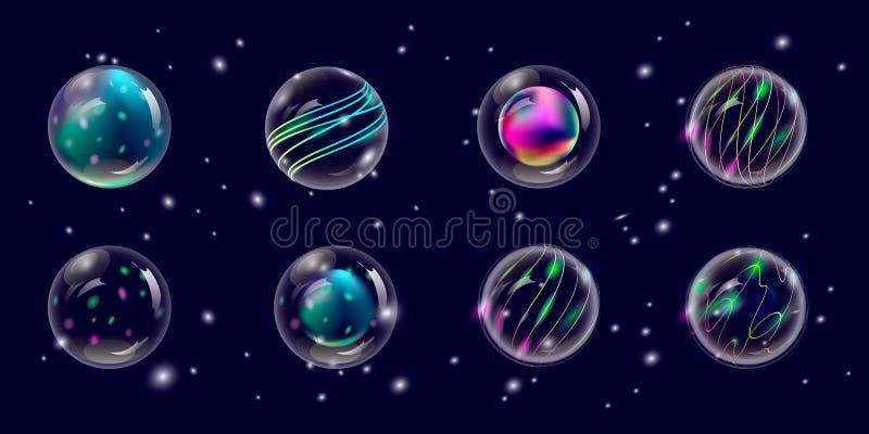 Genomskinliga nytt års- och julbollar, vektor stock illustrationer
