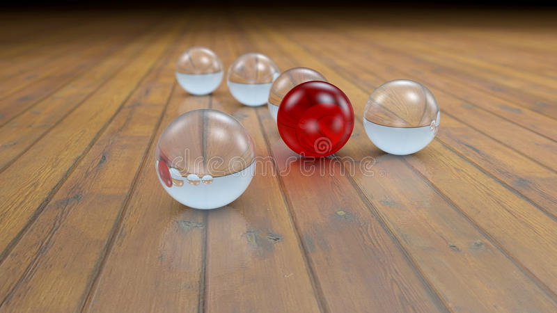Genomskinliga och kulöra realistiska glass bollar för fantasi på ett realistiskt wood golvgolv stock illustrationer