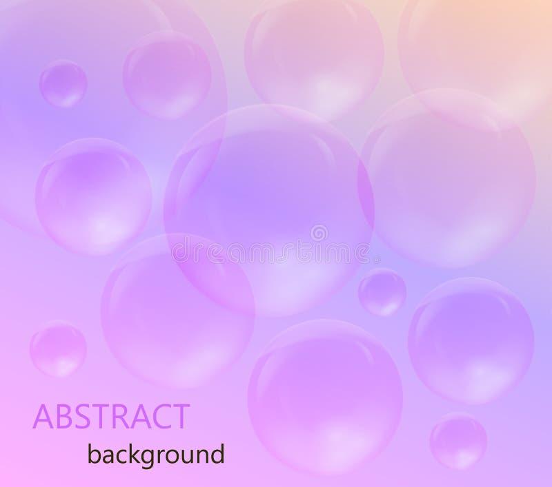 Genomskinliga såpbubblor på en rosa och purpurfärgad bakgrund royaltyfri illustrationer