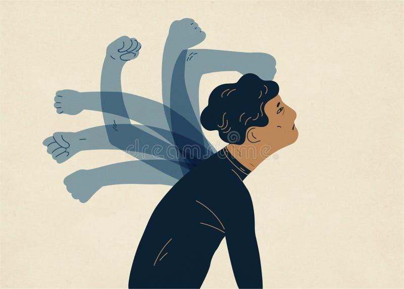 Genomskinliga spöklika händer som slår mannen Begrepp av psykologisk själv-flagellation, själv-bestraffning, själv-förnedring, sj royaltyfri illustrationer