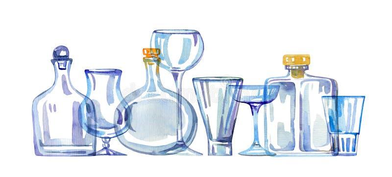 Genomskinliga tomma dricka exponeringsglas och flaskor i rad Den drog vattenf?rghanden skissar illustrationen stock illustrationer