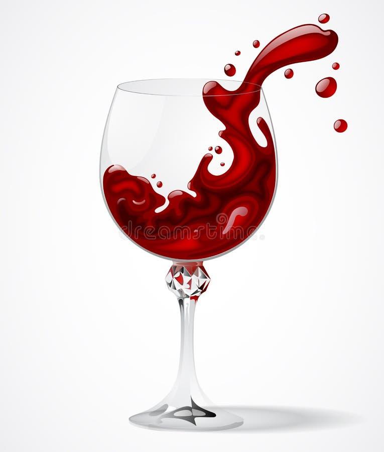 Genomskinligt exponeringsglas med plaskat rött vin på vit bakgrund stock illustrationer