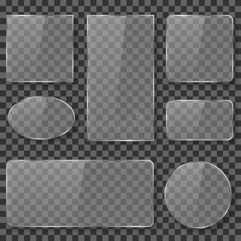 Genomskinligt exponeringsglas, plast-, akryl pläterar banervektormaterielet stock illustrationer