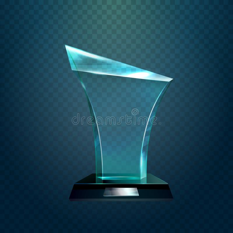Genomskinligt glasföremåltrofé eller pris stock illustrationer
