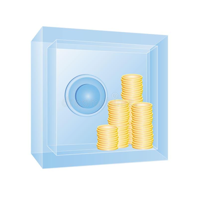 Genomskinligt kassaskåp med guld- mynt royaltyfri illustrationer