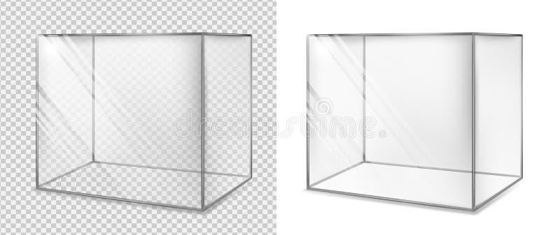 genomskinligt kubexponeringsglas Realistiskt akvarium Sakkunniga ställer ut stock illustrationer