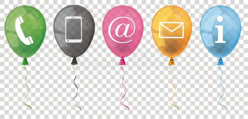 Genomskinligt kulört baner för ballongkontaktsymboler royaltyfri illustrationer