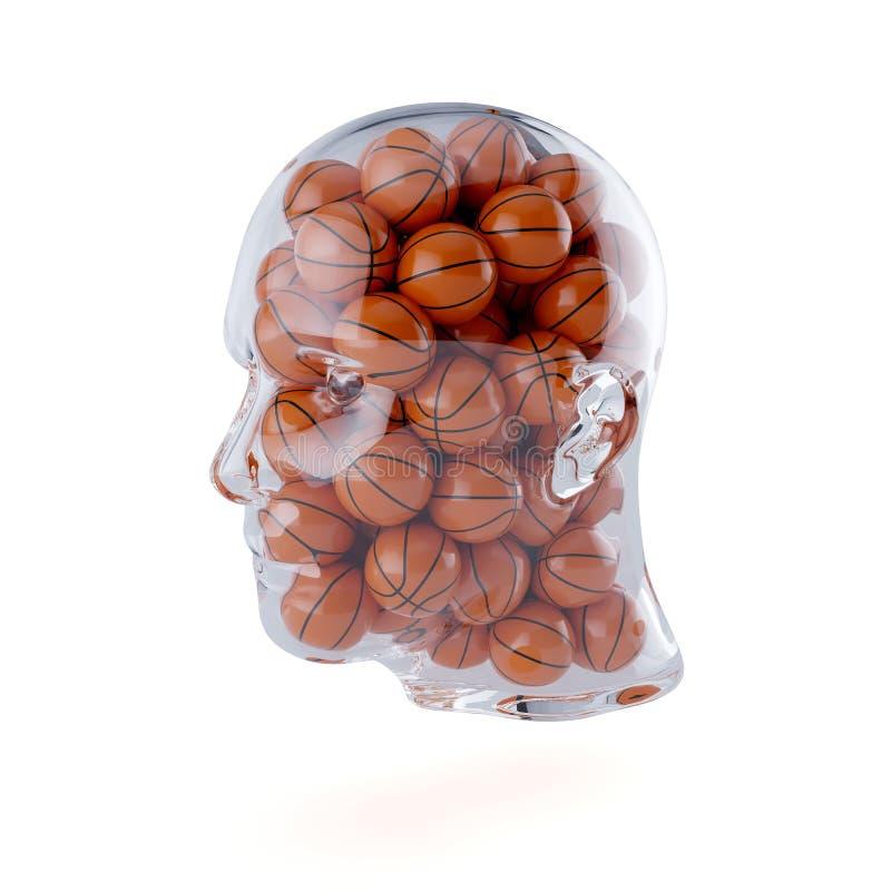 Genomskinligt mänskligt huvud som fylls med basketbollar stock illustrationer