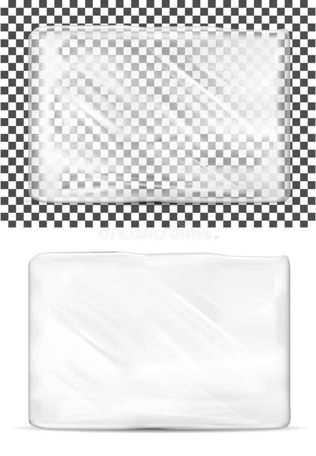 Genomskinligt tomt plast- förpacka för toalettpapper vektor illustrationer