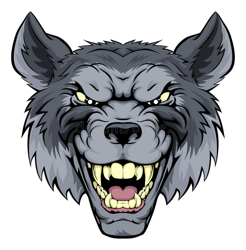 Genomsnittliga Wolf Mascot royaltyfri illustrationer