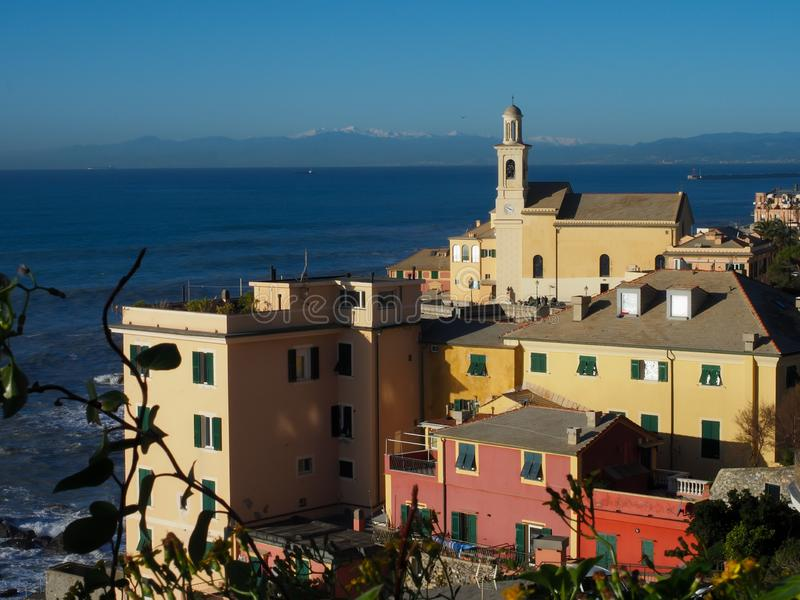 Genova Boccadasse High view landscape. During a sunny day in December royalty free stock images