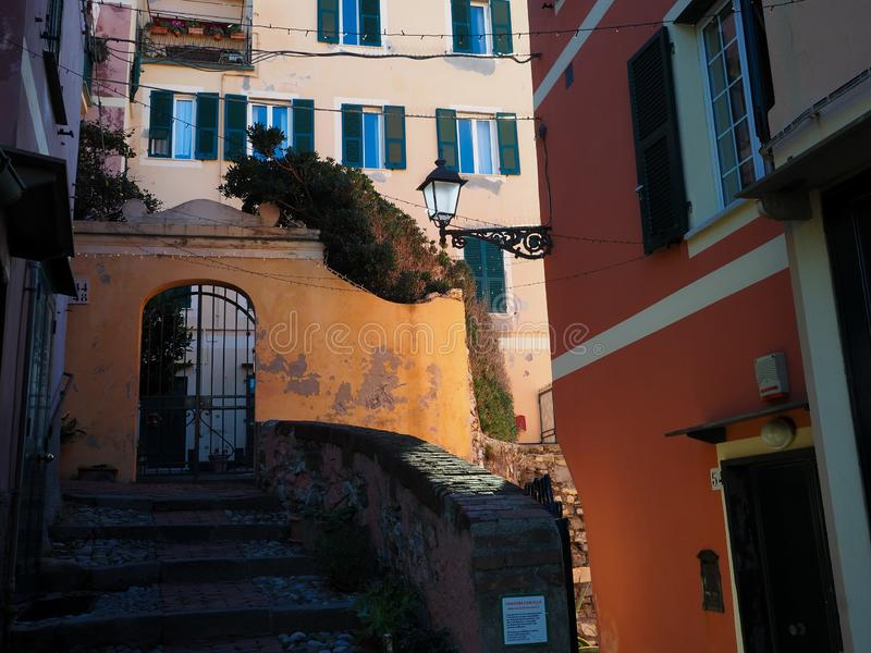 Genova Boccadasse small internal street. During a beautiful day in December royalty free stock photography