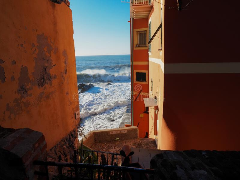 Genova Boccadasse small view during a seastorm. In December royalty free stock photography