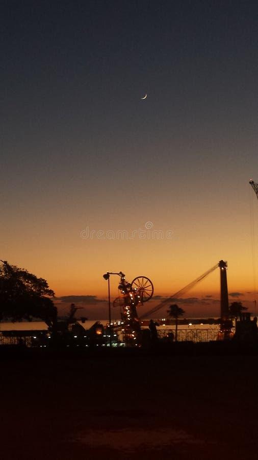 Genova: il porto sul tramonto immagine stock