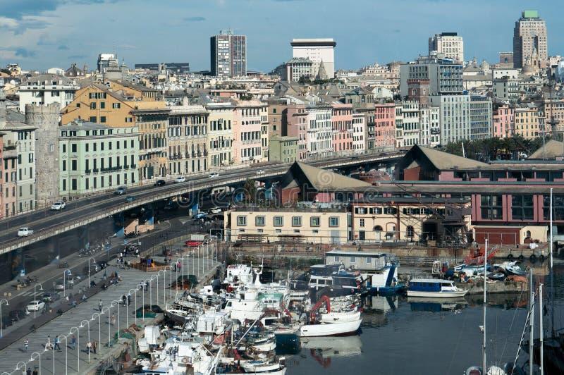 Genova, Italia Barche ed itinerario, porto immagine stock libera da diritti