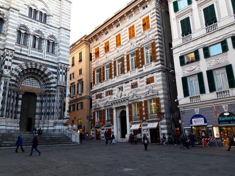 Genova, Italia del Nord, Europa Il san Lawrence Cathedral immagine stock libera da diritti