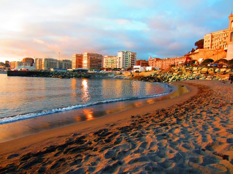 Genova, Italy. Beach in Genova at dusk, Italy stock images
