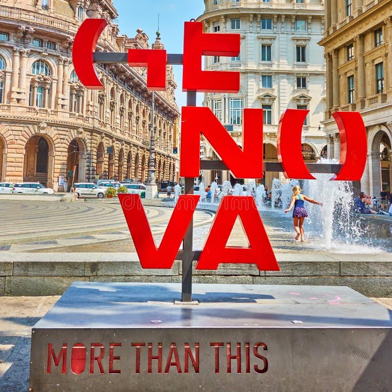 Genova More Than This signin De Ferrari square. Genoa , Italy - July 7, 2019: Genova More Than This sign in De Ferrari square in Genoa royalty free stock images