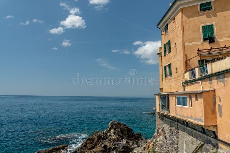 Genova Nervi wioski okręgu dziejowi domy obrazy stock