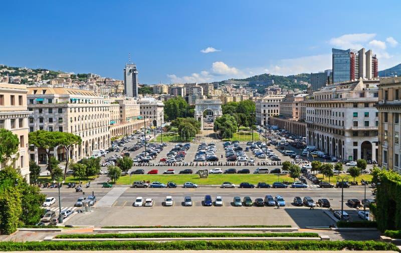 Genova - Piazza della Vittoria. Overview of Piazza della Vittoria in Genova, Liguria, Italy royalty free stock photos