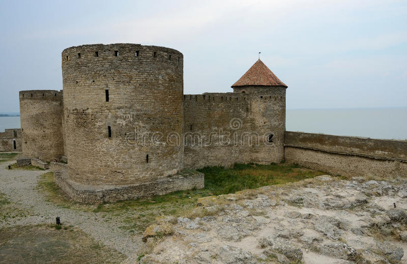 Genovese citadel with court tower in old Akkerman fortress,Ukraine. Genovese citadel with court tower in old Akkerman fortress on the river bank in Belgorod stock photos