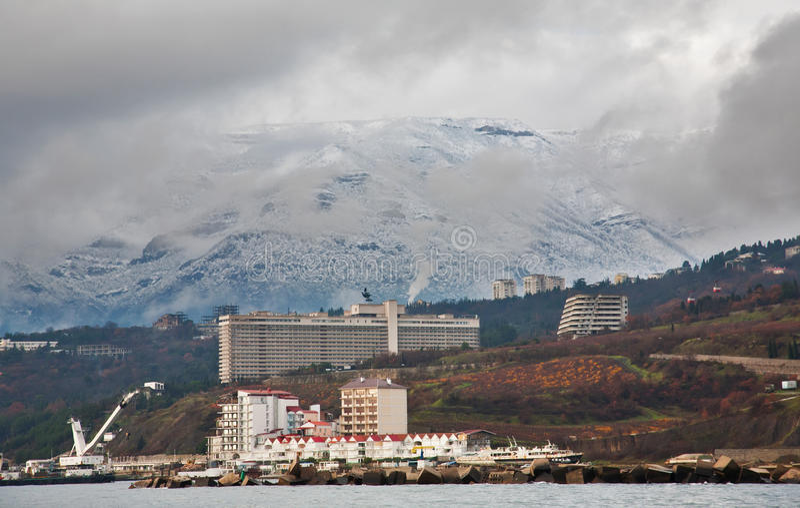 Genre à l'hiver Yalta photographie stock