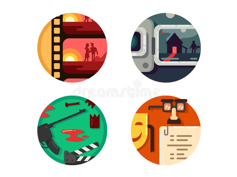 Genre cinema set icons. Genre cinema set. Action and comedy, horror and romance. Vector illustration. Pixel perfect icons size - 128 px vector illustration