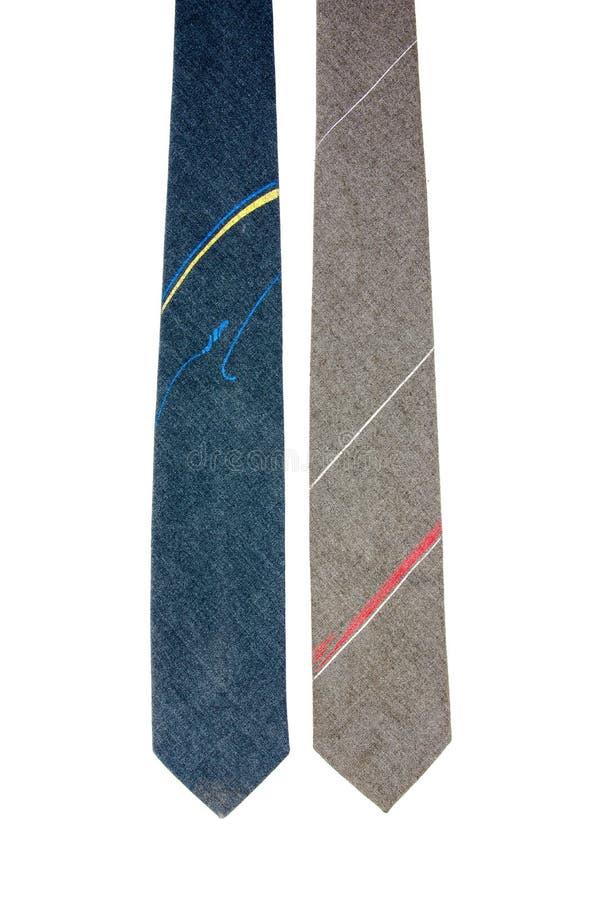 Genre deux de cravates d'isolement sur le fond blanc Cravate d'isolement photographie stock libre de droits