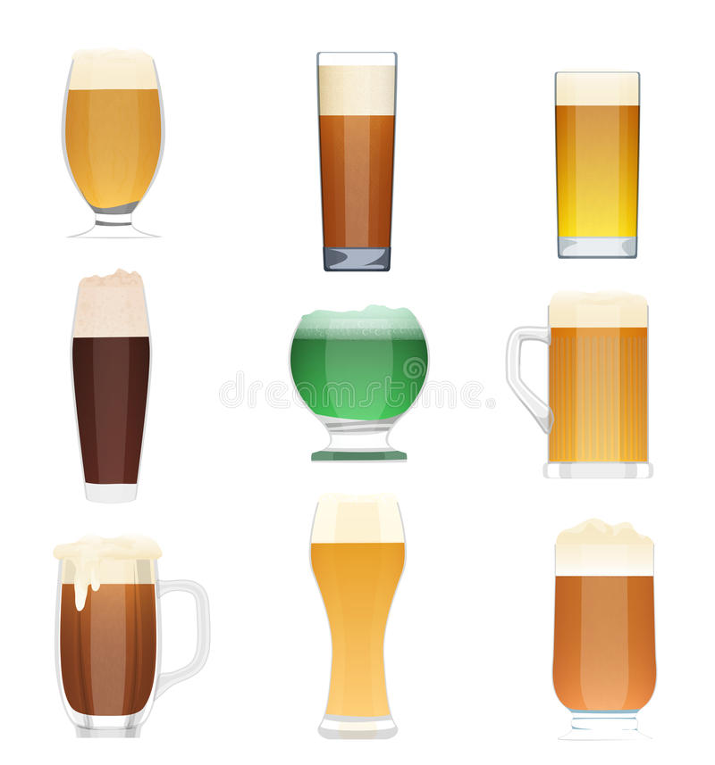 Genre différent d'ensemble de collection de bière Icônes de bouteille de vecteur de bière, tasses en verre de bière illustration stock