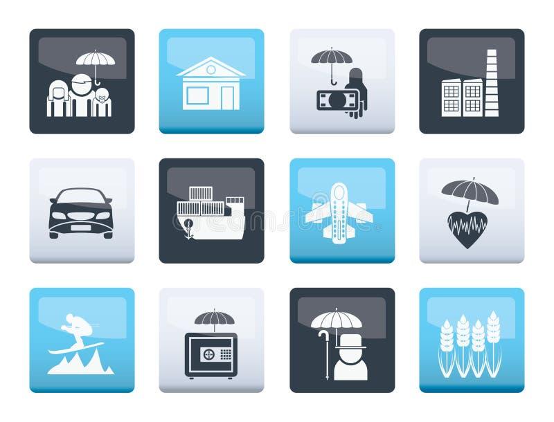 Genre différent d'icônes d'assurance et de risque au-dessus de fond de couleur illustration stock