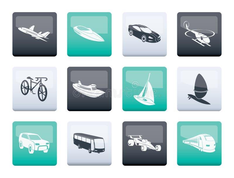 genre différent d'icônes de transport et de voyage au-dessus de fond de couleur illustration stock