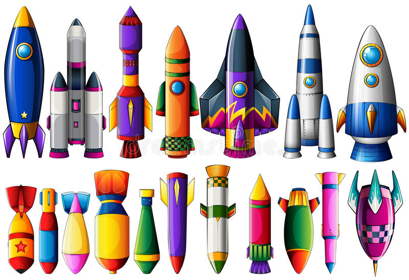 Genre différent de bateaux et de bombes de fusée illustration de vecteur