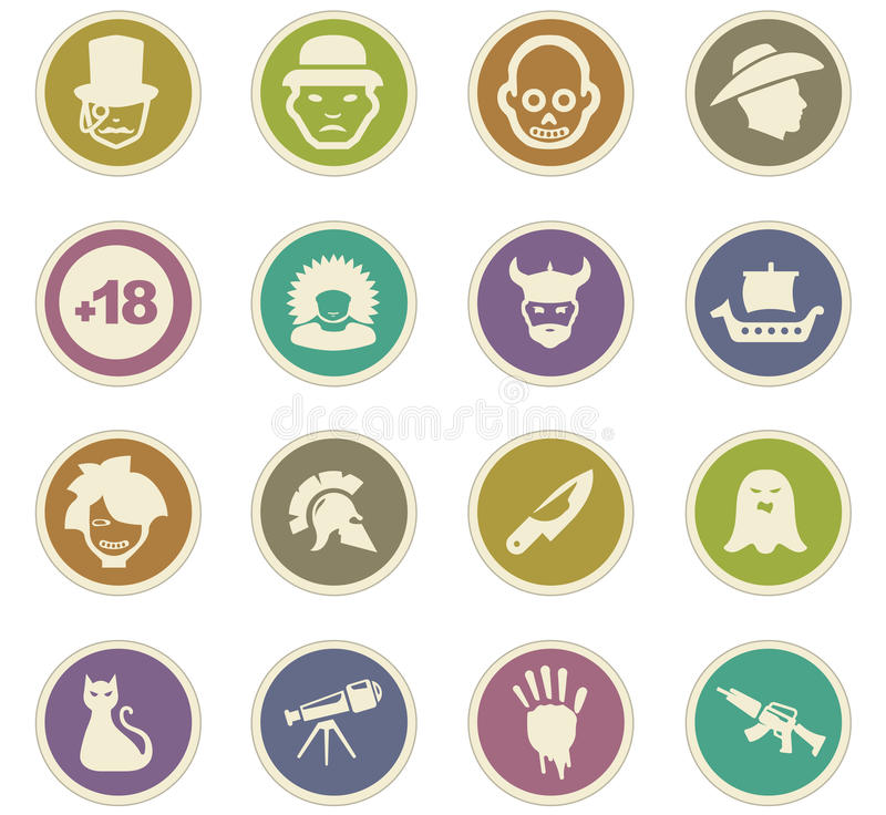 Genres of cinema icons set. Set of movie genres black icons isolated on white. Vector illustration stock illustration
