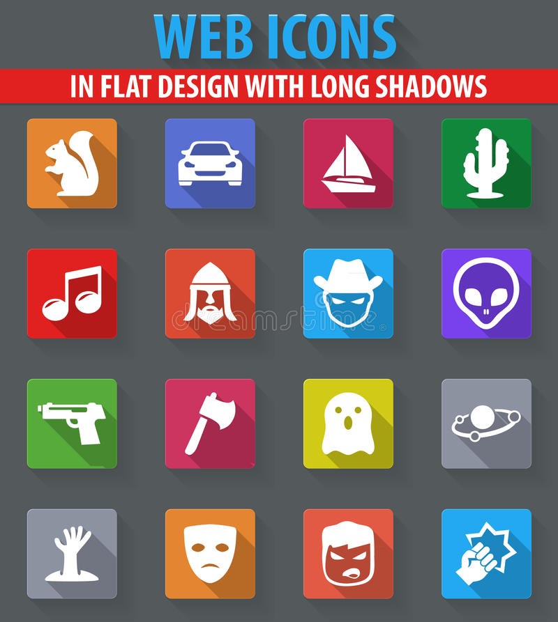 Genres of cinema icons set. Set of movie genres web icons in flat design with long shadows royalty free illustration