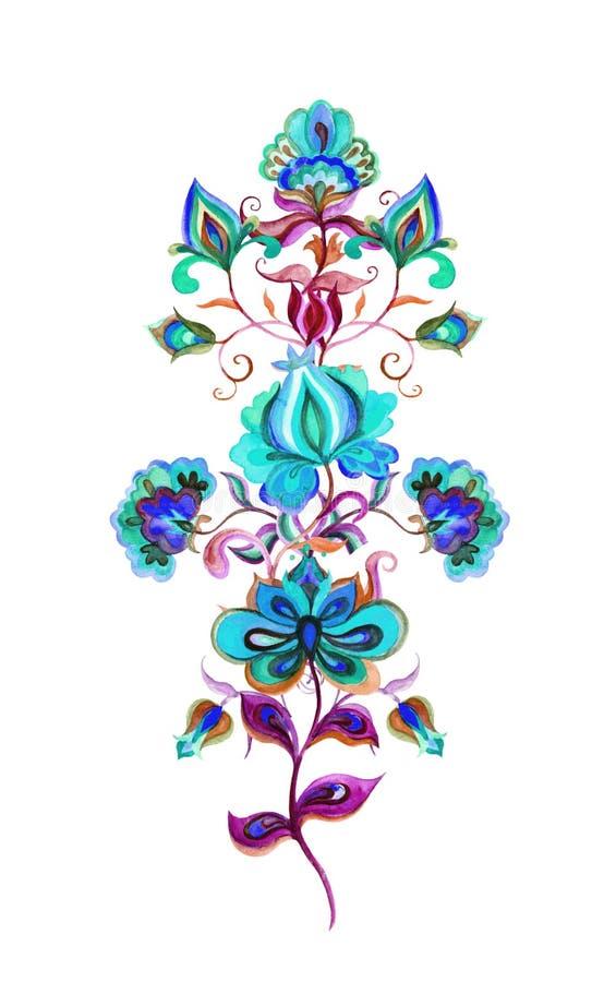 Gens Art Flowers Motif féerique d'aquarelle pour oriental - la main européenne a ouvré l'ornement floral illustration de vecteur