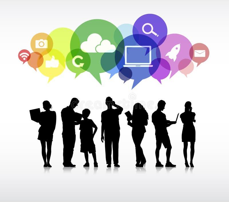 Gens d'affaires à un arrière-plan blanc et aux bulles de la parole illustration stock