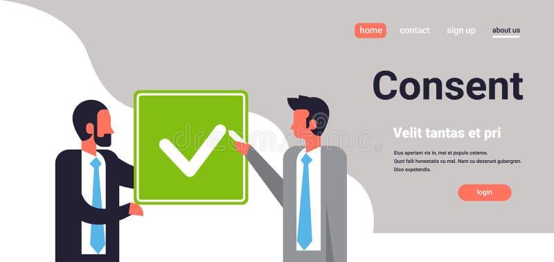 Gens d'affaires d'accord de vert de consentement de forme de mélange de course d'homme de communication de concept de portrait de illustration libre de droits