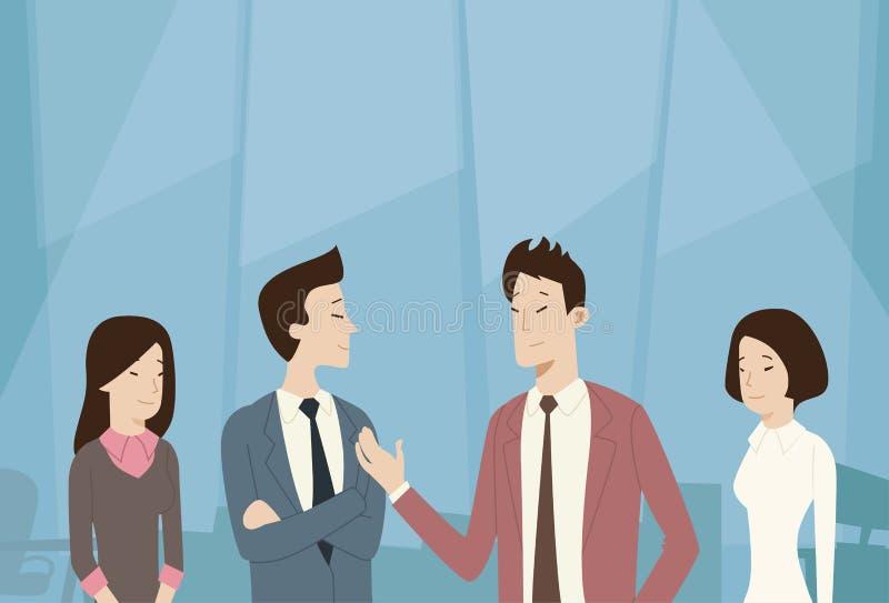 Gens d'affaires asiatiques de groupe Team Talk Communication, négociation illustration de vecteur