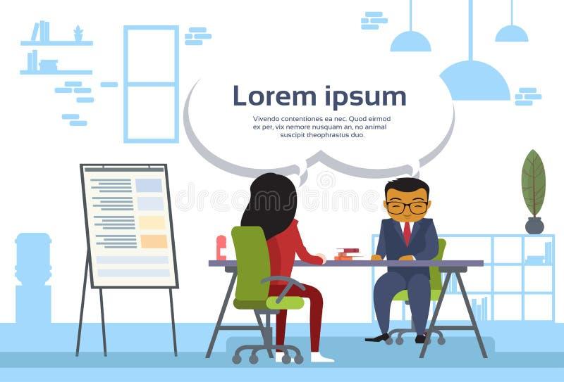 Gens d'affaires asiatiques de réunion d'homme et de femme d'affaires s'asseyant au rapport de ventes de bureau à bord illustration de vecteur