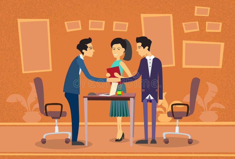 Gens d'affaires asiatiques rencontrant l'appartement de bureau de Shake Hand Discussing d'homme d'affaires illustration stock