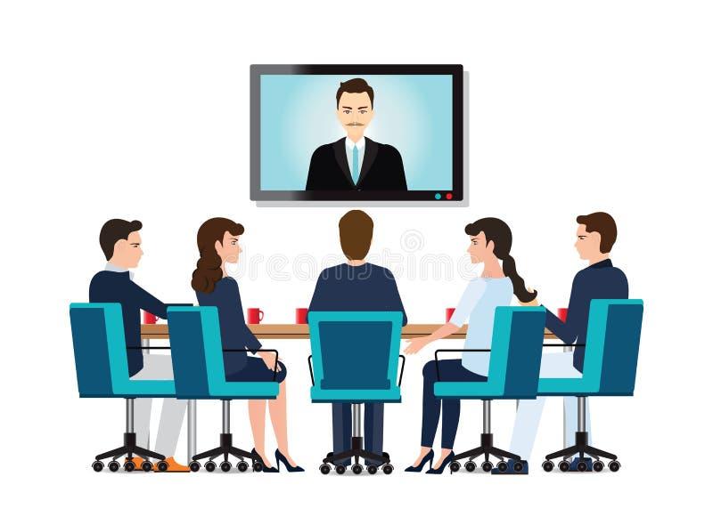 Gens d'affaires assistant à la réunion de vidéoconférence illustration libre de droits