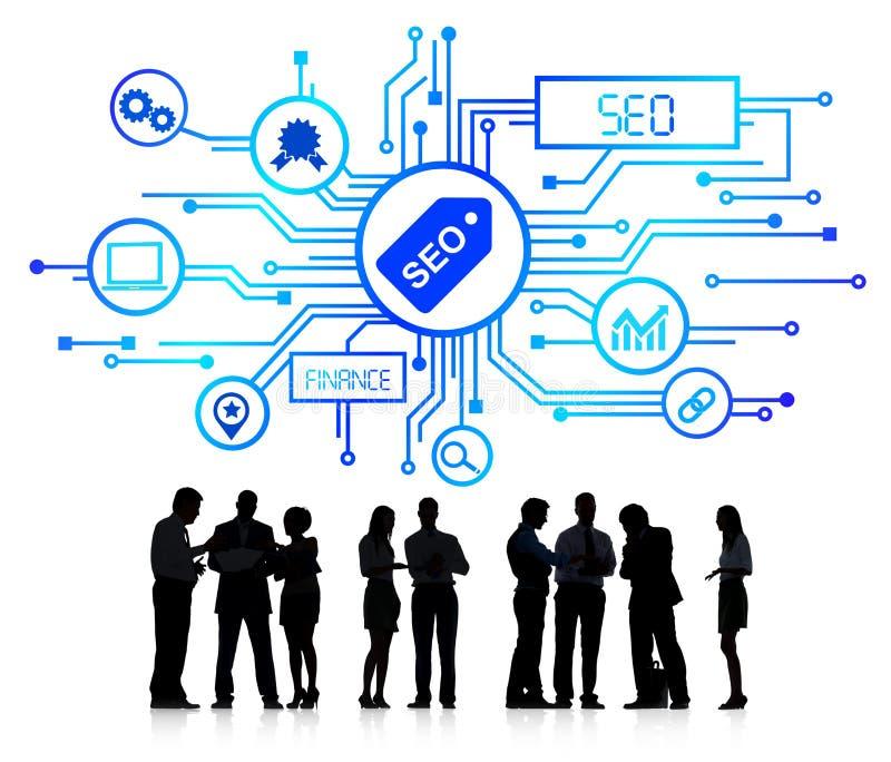 Gens d'affaires avec des affaires SEO Concept illustration stock