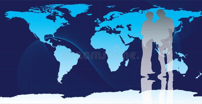 Gens d'affaires avec la carte du monde illustration libre de droits