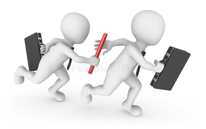 gens d'affaires 3d avec le bâton Concept de travail d'équipe illustration de vecteur
